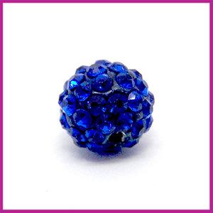 Strass kraal polymeerklei rond 10mm Donker blauw