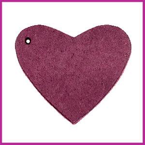 DQ leer hanger hart ca. 4x4,5cm Light aubergine red