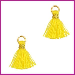 Kwastje mini Ibiza 1cm goud cyber yellow