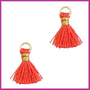 Kwastje mini Ibiza 1cm goud fushion coral red
