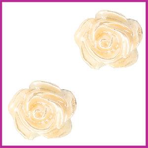Kunststof kraal roosje 6mm Wit - apricot butter peach pearl shine