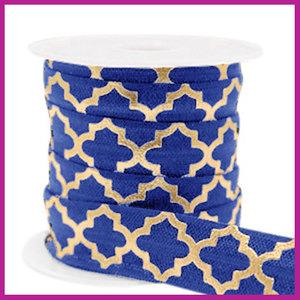 Elastisch sierlint per 25cm Maroccan pattern dark blue gold