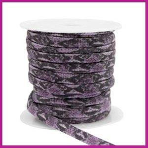 Stitched elastisch sierlint per 25cm snake dark purple